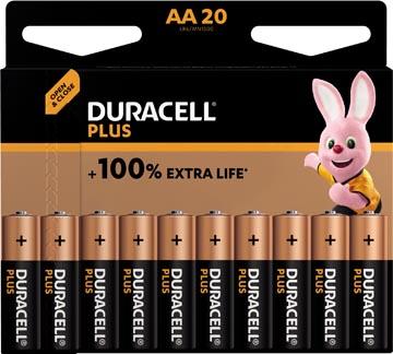 Duracell batterij Plus 100% AA, blister van 20 stuks