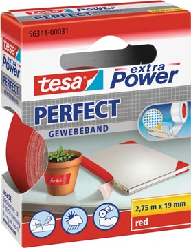 Tesa extra Power Perfect, ft 19 mm x 2,75 m, rood