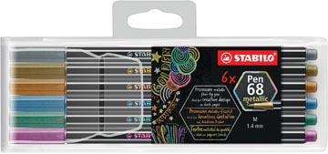STABILO Pen 68 metallic viltstift, 6 kleuren, etui van 6 stuks