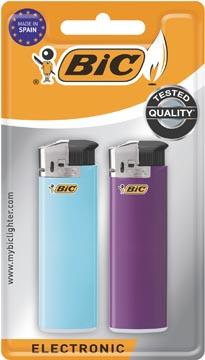 BIC Maxi elektronische aanstekers, geassorteerde kleuren, blister van 2 stuks
