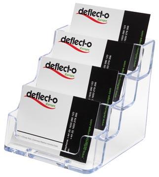 Deflecto Visitekaarthouder 4 opbergvakken, transparant