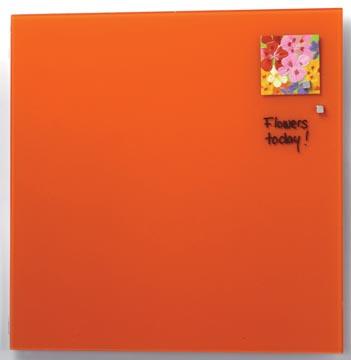 Naga magnetisch glasbord, oranje, ft 45 x 45 cm