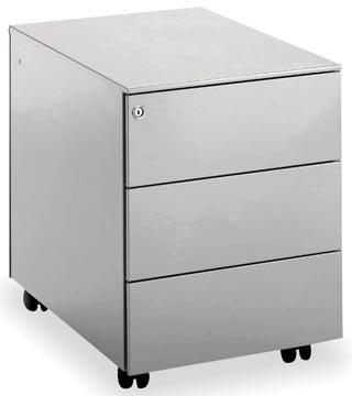 Mobo ladenblok Universal, 3 laden, op wieltjes, aluminium